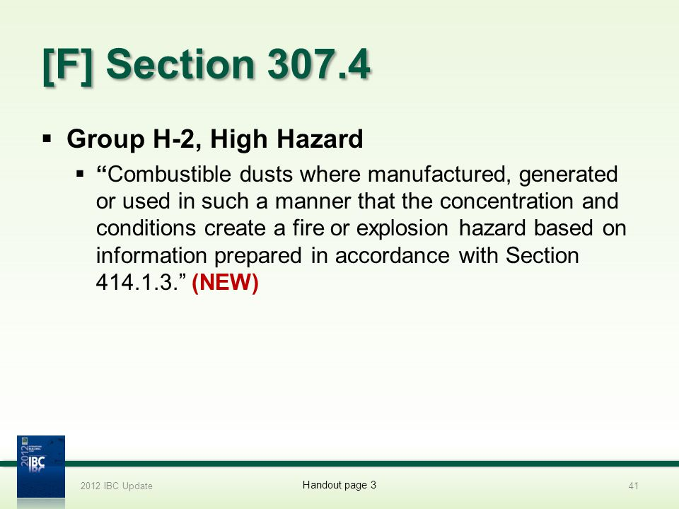 [F] Section 307.4 Group H-2, High Hazard